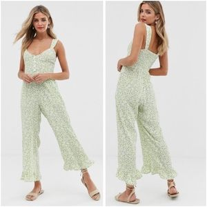 "Faithfull The Brand Green Floral ""Lameka"" Jumpsuit"